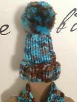 Wine Bottle Cover HandKnit Hat & Scarf Turquoise Brown Beer Cozy Gift Wrap