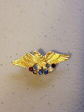 Pin Brooch Gold Tone Bird Eagle Vintage Usa Rhinestone Red White Blue Stones