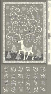 MAKOWER  REINDEER  GREY ADVENT CHRISTMAS  PANELS - 2110