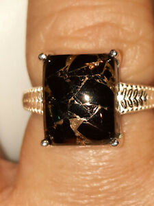 3.35ctw Matrix Silver Shungite Solitaire Ring Sterling Silver Size 8