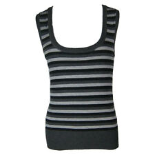 Women's Ladies Fashion Stylish Black and Grey Sleeveless U Neck Long Knit Top