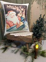 VINTAGE RETRO MODERN 1950'S CHRISTMAS SANTA SLEIGH REINDEER PRESENT TOY PILLOW
