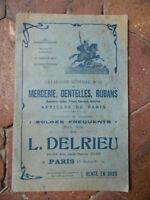 catalogue commercial DELRIEU paris N°14 Mercerie fabrique Dentelles Tarif 80p.