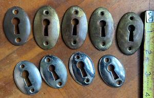 (9) Vintage Oval BRASS Skeleton Key Hole Covers Escutcheon Plates Door Hardware