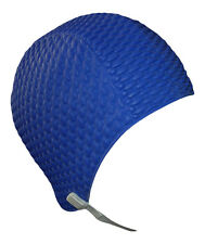 Ladies Swim Hat With Chin Strap Mens Swimming Cap Easy to Put On Navy Blue