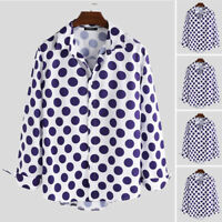 INCERUN Men's Hippy Shirt Long Sleeve Polka Dot Formal Casual Slim Blouse Tops