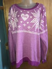 Victorias Secret Pink Sweatshirt Purple Snowflakes Hearts White Winter Holiday