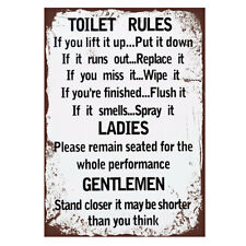 Vintage Toilet Rules Metal Sign Plaque Art Bathroom Wall Door Poster Tin Signs