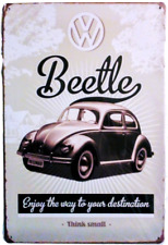 """Vintage"" Style Metal Sign, VW Beetle Think Small"