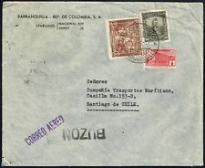 762 COLOMBIA TO CHILE AIR MAIL COVER 1941 BARRANQUILLA - SANTIAGO