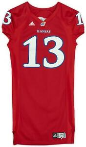 Kansas Team-Issued #13 Red Mesh Jersey from the Football Program - Size 38+6