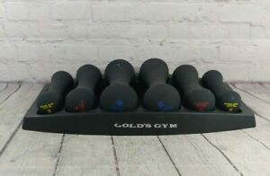 Gold's Gym WGGDBK12 32lbs Dumbbell Set with Storage Tray 6pc Hand Weights 3 5 8