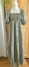 Asos Summer Smocked Boho Style Checked Midi/Maxi Dress In Size UK 10