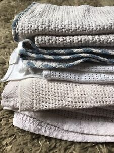 A Bundle of 4 Cellular Blankets. All 100% Cotton. White Pink Blue