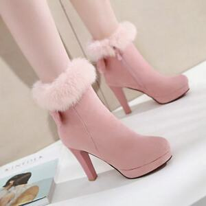 Women Winter Ankle Boots Fur Lining Round Toe Block Heels Sweety Bows Warm Shoes
