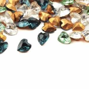 Lot (105) vintage Czech 7mm blue amethyst clear jonquil heart glass rhinestones