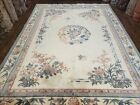 Vintage Chinese Carving Rug 9x12 Pastel Colors Ivory & Teal Butterflies Flowers