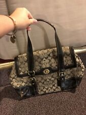 Authentic Coach Brown Signature C Monogram Shoulder Women's Handbag Purse