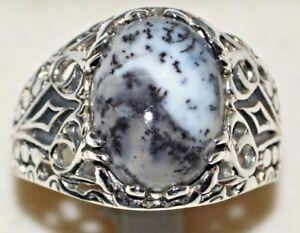 Dendrite OPAL Men's Vintage Luk Ring Gem Gents Sterling 925 SILVER Sz N to Z+5