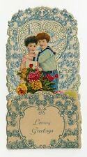 Antique Fold-Out Three Dimensional 1920's Valentine | Young Couple and Vase of