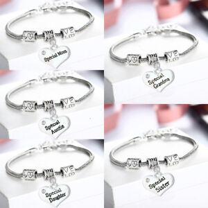 Gift For Family Mom Grandma Sister Daughter Bracelet Bangle Jewelry Love Heart