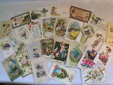 PRE-LINEN EASTER GREETINGS! 27 POSTCARD LOT EMBOSSED+ 1900's UP >100 YRS OLD g