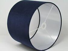 Navy Blue Velvet Brushed Silver Metallic Drum Lampshade Ceiling Light Shade
