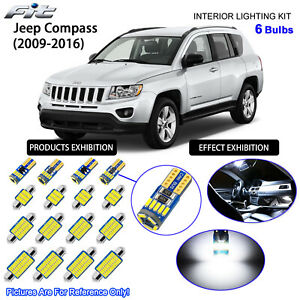 6 Bulbs LED Interior Dome Light Kit 6000K Cool White For 2009-2016 Jeep Compass