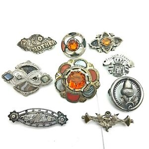 9 Sterling Silver Victorian Scottish Agate & Sweetheart Brooches for repairs