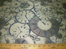3 4/8 Yds Time Clocks Woven Upholstery Fabric For Less