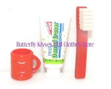 Red Toothbrush, Paste Cup 18 in Doll Clothes Accessory Fits American Girl RS