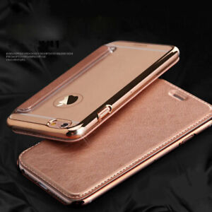 Flip Leather Glossy Transparent Wallet Card Case Cover For iPhone 7 8 Plus X