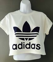 New Reworked ADIDAS ORIGINALS Crop Top T-Shirt White Ibiza Hipster S M
