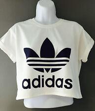 New Reworked ADIDAS ORIGINALS Crop Top T-Shirt White Ibiza Hipster S M