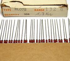 200x TRW rl07s resistenza, 1300 ohm/0.25 W, VINTAGE IRC resistors, NOS