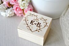 Personalised Wedding Ring Box Gift Initials Wooden Ring Box Holder Bearer Pillow