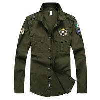 Luxury New Men's Military Slim Epaulet Air Force Casual Shirts 4Colours TUT6349