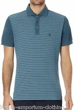 BNWT BALLANTYNE 100% Cotton Striped Teal Short Sleeved Piquet Polo T-Shirt MED