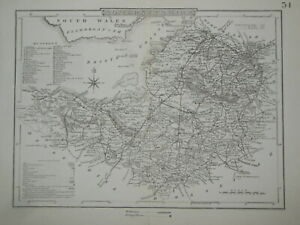 Original Antique SOMERSETSHIRE Map (c1845) Somerset, Southern England County