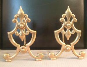 """Pair of Antique Brass Fireplace Andirons Fire Dogs 11"""" high. Fluer De Lys"""
