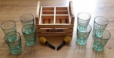 x8 BACARDI green glasses with wooden carry case & promotional maracas