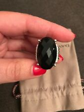 David Yurman  Sterling Silver Wheaton Black Onyx /Diamond 16x26mm  Ring,Sz 6,75
