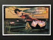 repro vintage postcard TEMPTATION DRAGONFLY FANTASY FAIRY Pleiades Press 127 NOS