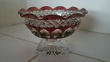 Westmoreland Waterford Red Stain Thumbprint Pedestal Candy Nut Dish Compote