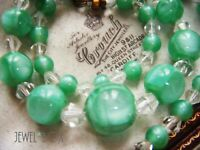 ART DECO VENETIAN CZECH Sea Green Satin Internal Bubbles Vintage NECKLACE