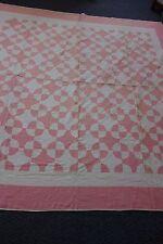 1930's Quilt-MALTESE CROSS Pattern- 77x79-Pink & Cream-VG-FEMININE & PRETTY-SALE