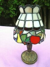 """Charming Vintage Small Colorful Stained Leaded Art Glass Boudoir Lamp~9.5"""""""