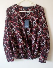 Daniel Hechter Paris Black Multi Colour Print Draped Cross Over Blouse BNWT 10