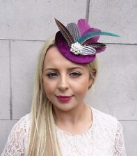 bf941d5b Berry Plum Purple Pheasant Feather Pillbox Hat Fascinator Hair Clip Races  3729