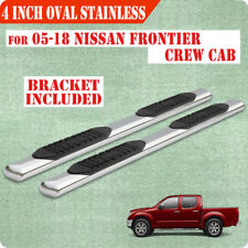"05-18 Nissan Frontier Crew Cab 4"" Running Boards Side Step Nerf Bar Chrome Oval"